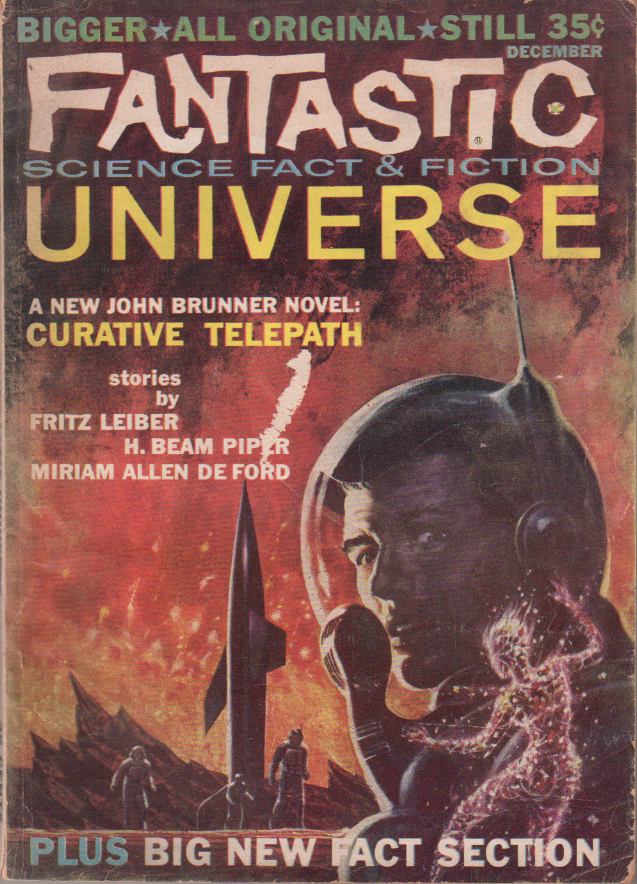 The Answer by H. Beam Piper, unrelated original Fantastic Universe edition cover illustration, 1959