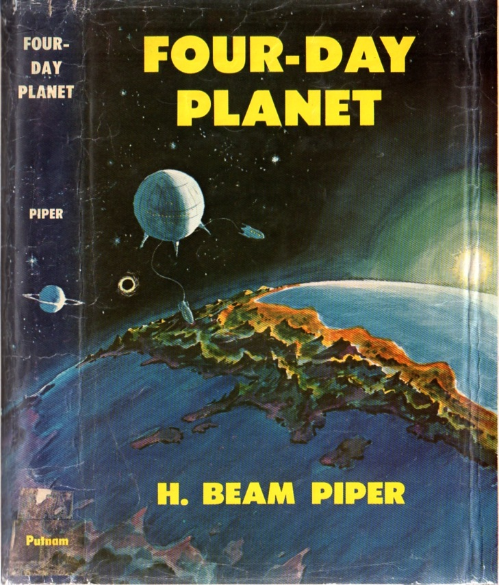 Four-Day Planet by H. Beam Piper, original Putnam edition dust jacket illustrationby Charles Geer, 1961