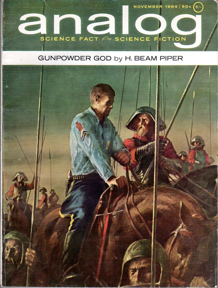 Gunpowder God by H. Beam Piper, original Analog Science Fiction--Science Fact cover illustration by John Schoenherr (1964)