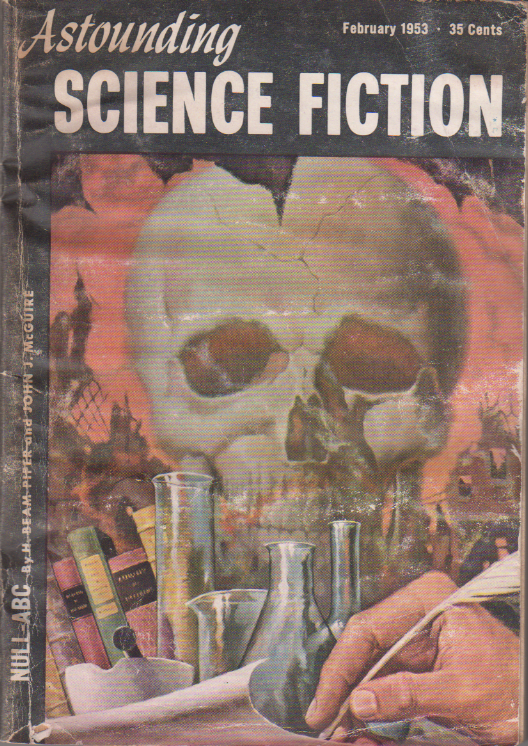Null-ABC by H. Beam Piper and John J. McGuire,  unrelated original Astounding Science Fiction edition cover illustration, 1953
