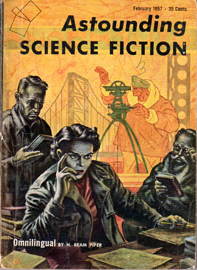 Omnilingual by H. Beam Piper, original Astounding edition cover illustration by Kelly Freas (1957)