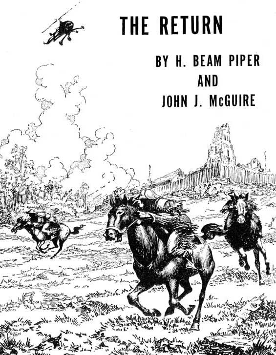 Image - The Return by H. Beam Piper and John J. McGuire, original Astounding interior illustration by Kelly Freas, 1954