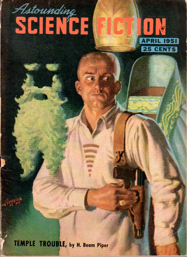 Temple Trouble by H. Beam Piper, original Astounding Science Fiction edition cover illustration by Hubert Rogers (1951)
