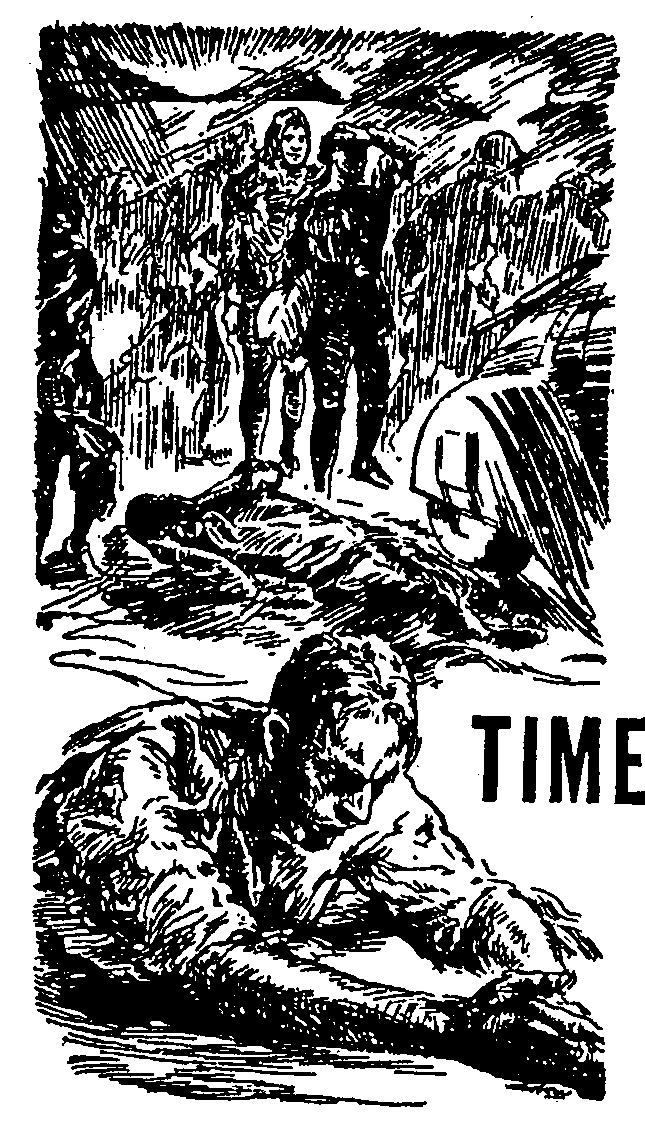 Image - Time and Time Again by H. Beam Piper, original Astounding interior illustration by Vincent Napoli, April 1947