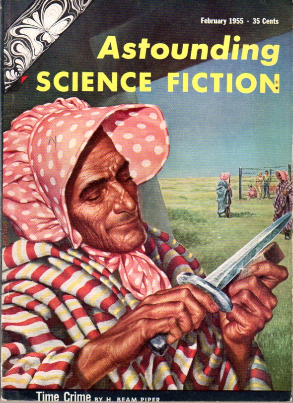 Time Crime by H. Beam Piper, original Astounding Science Fiction cover illustration by Kelly Freas (1955)